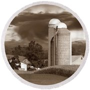 Sunset On The Farm S Round Beach Towel