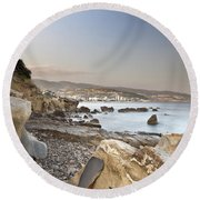 Sunset On The Mediterranean Round Beach Towel by Joana Kruse