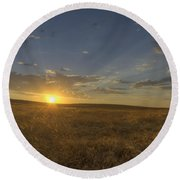 Sunset On The Prairie Round Beach Towel