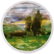 Sunset On The Road - The Highway Series Round Beach Towel