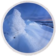 Sunset On The Summit Toviktinden Round Beach Towel