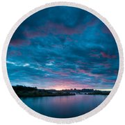Sunset Over A River  Round Beach Towel