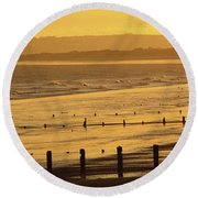 Sunset Over Beach In Winter Youghal Round Beach Towel