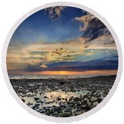 Sunset Over Bound Brook Island Round Beach Towel