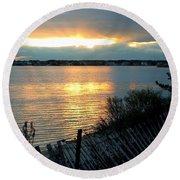 Sunset Over Cedar Creek Round Beach Towel