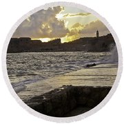 Sunset Over Dubrovnik 2 Round Beach Towel