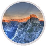 Sunset Over Half Dome Round Beach Towel