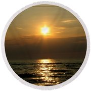 Sunset Over Lake Erie 3 Round Beach Towel