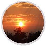 Sunset Over Maine Round Beach Towel