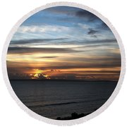 Sunset Over Poole Bay Round Beach Towel