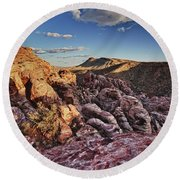 Sunset Over Red Rocks Round Beach Towel