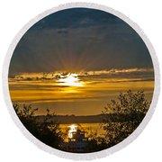 Sunset Over Steilacoom Bay Round Beach Towel