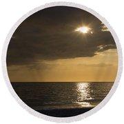 Sunset Over The Gulf - Peeking Through The Clouds Round Beach Towel