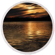 Sunset Over The Lake - 3rd Place Win Round Beach Towel