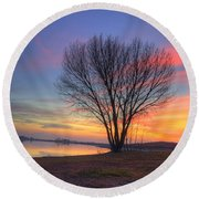 Sunset Over The Lake Round Beach Towel