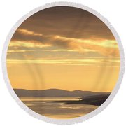Sunset Over Water, Argyll And Bute Round Beach Towel