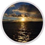 Sunset Over Winnepesaukee Round Beach Towel