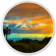 Sunset Palm Folly Beach  Round Beach Towel