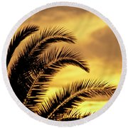Sunset Palms Round Beach Towel