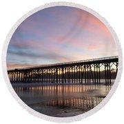 Sunset Pier San Simeon California 1 Round Beach Towel
