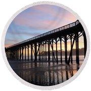 Sunset Pier San Simeon California 2 Round Beach Towel