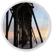Sunset Pier California 3 Round Beach Towel