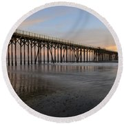 Sunset Pier  California 5 Round Beach Towel