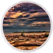 Sunset Rocks Round Beach Towel