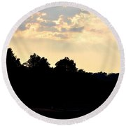 Sunset Silhouettes Over Star Lake Round Beach Towel