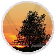 Square Photograph Of A Fiery Orange Sunset And Tree Silhouette Round Beach Towel