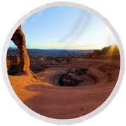 Sunset Starburst Round Beach Towel