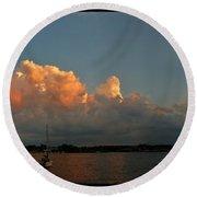Sunset Storm Clouds Panorama Round Beach Towel