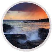 Sunset Storm Passing Round Beach Towel by Mike  Dawson