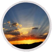 Sunset Sun Rays Round Beach Towel