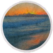 Sunset Surfers Round Beach Towel
