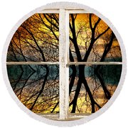 Sunset Tree Silhouette Abstract Picture Window View Round Beach Towel