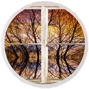 Sunset Tree Silhouette Colorful Abstract Picture Window View Round Beach Towel by James BO  Insogna