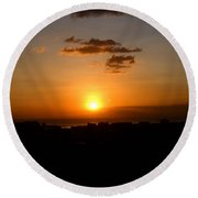 Sunset Upon The Ocean Number Three Round Beach Towel