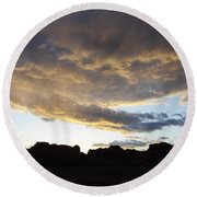 Sunset Valley Of Fire Round Beach Towel