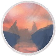 Sunset Valley  Round Beach Towel by Pixel  Chimp