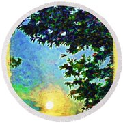 Sunset With Leaves Round Beach Towel