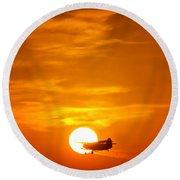 Sunset With Plane Round Beach Towel