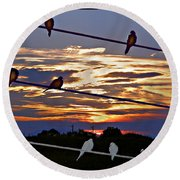 Sunsets And Birds Round Beach Towel