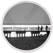 Sunsets On Coney Island In Black And White Round Beach Towel