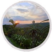 Sunsetting Over Costa Rica Round Beach Towel