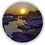 Sunsetting Over Rovinj 2 Round Beach Towel