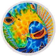 Sunshine Angelfish Round Beach Towel by Daniel Jean-Baptiste