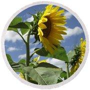 Sunshine Flowers Round Beach Towel