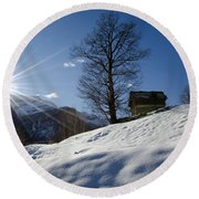 Sunshine Over The Snow Round Beach Towel