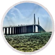 Sunshine Skyway Bridge - Tampa Bay Round Beach Towel by Bill Cannon